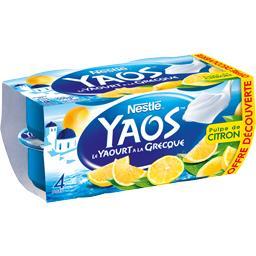 Nestlé Yaos - Le Yaourt à la Grecque pulpe de citron les 4 pots de 125 g - Offre découverte