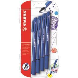 Stabilo Feutres d'écriture point Max bleus la pochette de 4 feutres
