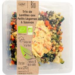 Trio de lentilles aux petits légumes & saumon BIO