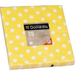 Serviettes 3 plis, pliage 1/4 33x33 cm, jaune Dots
