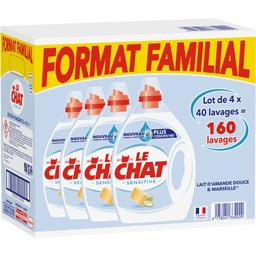 Le Chat Lessive liquide Sensitive le lot de 4 bidons de 2 l -