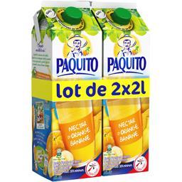 Paquito Nectar orange - banane à base de concentré & purée de fruit les 2 briques de 2l