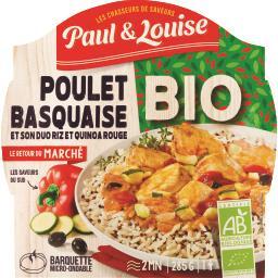 Poulet basquaise et son duo riz et quinoa rouge BIO
