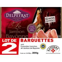 Delpeyrat Le Jambon de Bayonne le lot de 2 barquettes de 100 g