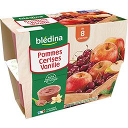 Desserts pommes cerises vanille, de 8 à 36 mois