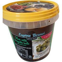 Olives vertes dénoyautées basilic
