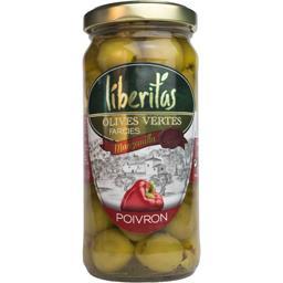 Liberitas Olives vertes farcies poivron le bocal de 140 g net égoutté