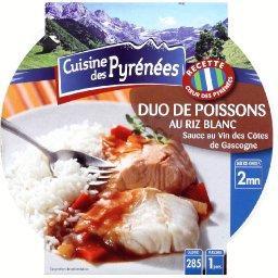 Duo de poissons au riz blanc et sa sauce au vin