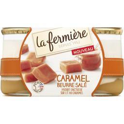 La Fermière Yaourt caramel beurre salé sur lit au caramel