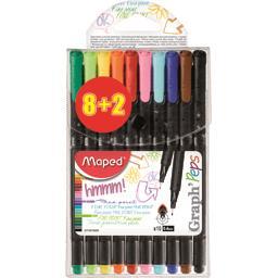 Graph'Peps - Feutres d'écriture 0,4 mm 10 couleurs
