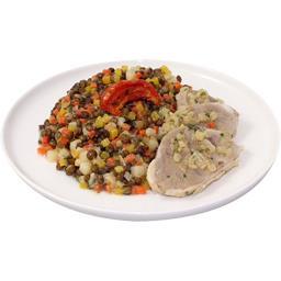 Lentilles cuisinées aux légumes jarret de porc émincé confit