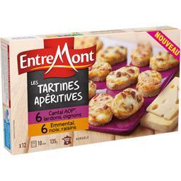 Les Tartines Apéritives Cantal lardons/emmental noix raisins