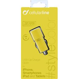 Micro chargeur allume cigare USB 2A jaune