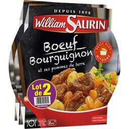 William Saurin Bœuf bourguignon & ses pommes de terre les 2 barquettes de 300 g