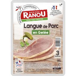 Monique Ranou Langue de porc en gelée moulée à la main la barquette de 3 tranches - 280 g