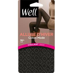 Collant coton bicolore T1/2 noir
