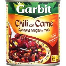 Chili con carne, poivrons rouges et maïs