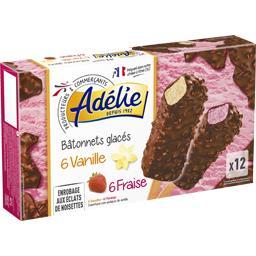 Bâtonnets glacés vanille et fraise