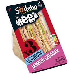 Le Méga - Sandwich pain suédois jambon cheddar