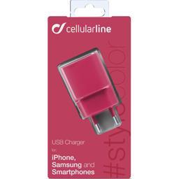 Chargeur secteur USB 1A rose