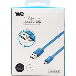 Câble USB/micro USB plat réversible 1 m bleu