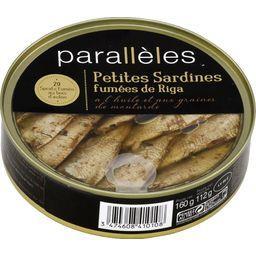 Parallèles Petites sardines fumées de Riga huile et graines de ... la boite de 112 g net égoutté