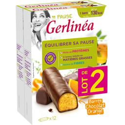 Gerlinéa Ma Pause - Barres chocolat orange les 2 boites de 372g