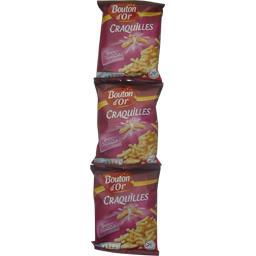 Bouton d'Or Biscuits apéritif saveur bacon les 3 paquets de 90 g