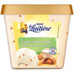 La Laitière Glace lait d'amande petites amandes craquantes le bac de 430 g