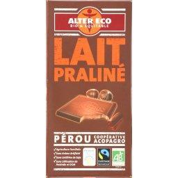 Chocolat au lait du Pérou fourré praliné BIO
