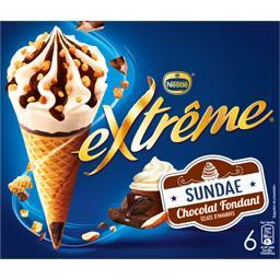 Cônes Sundae chocolat fondant éclats d'amandes