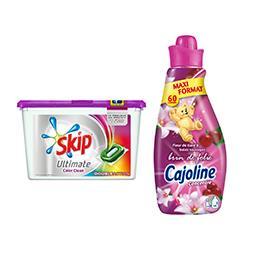 Skip lessive Ultimate Color double action + 1 Cajoline Création offert