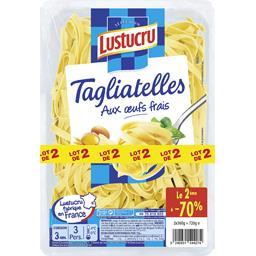 Lustucru Tagliatelles aux œufs frais le lot de 2 barquettes de 360 g