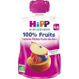 100% Fruits - Pommes pêches fruits des bois BIO, dès 4/6 mois