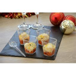 Verrines tartare de tomates noix de Saint-Jacques et légumes
