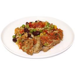 Riz aux légumes et porc émincé sauce vierge