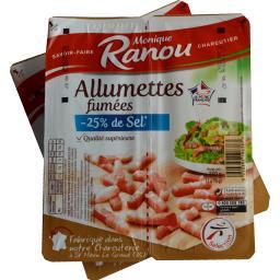 Monique Ranou Allumettes fumées -25% de sel les 2 barquettes de 150 g