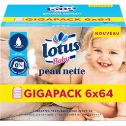 Lotus Baby Lingettes texturées Peau Nette les 6 paquets de 64 lingettes -