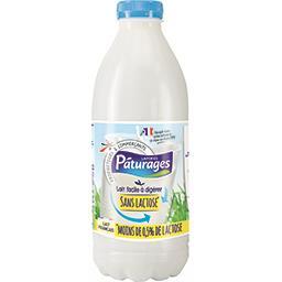 Pâturages Lait réduit en lactose demi-écrémé la bouteille de 50 cl