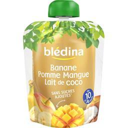 Purée de fruits banane pomme mangue lait coco, dès 10 mois