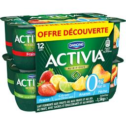 Danone Activia - Lait fermenté au bifidus fraise/ananas/cit... les 12 pots de 125 g - Offre spéciale
