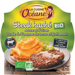 Steak haché BIO sauce poivre purée pdt et butternut