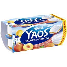 Nestlé Yaos - Le Yaourt à la Grecque sur lit de pêches les 4 pots de 125 g - Offre découverte