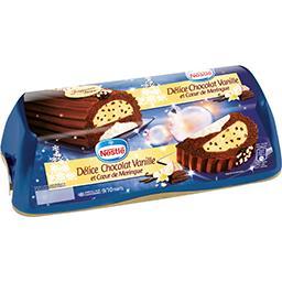 Bûche glacée Délice chocolat vanille et cœur de meri...