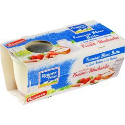 Fromage blanc battu sur lit fraise-rhubarbe