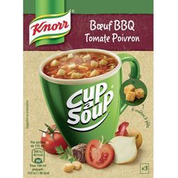 Knorr Soupe instantanée bœuf BBQ tomate poivron les 3 sachets de 12 g