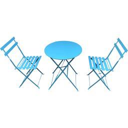 Set bistrot : 1 table et 2 chaises coloris bleu baltique