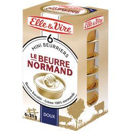 Elle & Vire Mini beurriers Le Beurre Normand doux les 6 plaquettes de 25 g