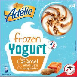Adélie Crème glacée Frozen Yogurt sauce caramel & amandes les 4 pots de 130 ml