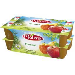 Materne Compote de Pommes Allégée en Sucres 30% de Sucres en Moins en Coupelles 16 x 100 g - Lot de 3
